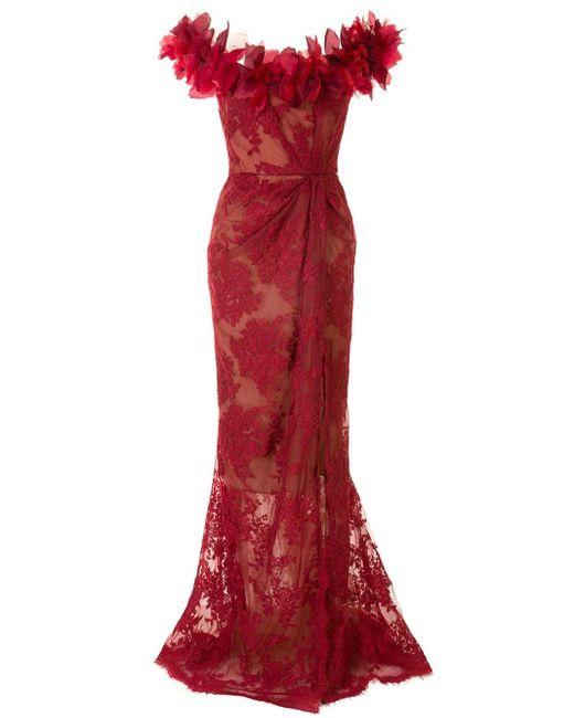 Marchesa フローラル レース ドレス Red