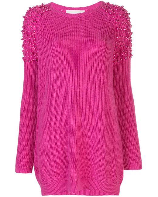 Michelle Mason パールディテール ドレス Pink