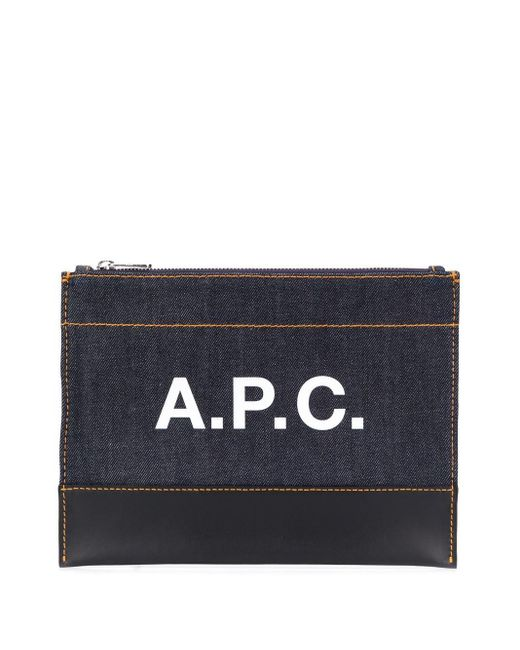 A.P.C. ロゴ クラッチバッグ Blue