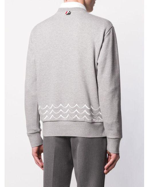 Толстовка С Круглым Вырезом И Вышивкой Thom Browne для него, цвет: Gray