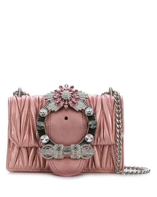 Bolso de hombro con hebilla con cristales en matelassé Miu Miu de color Pink