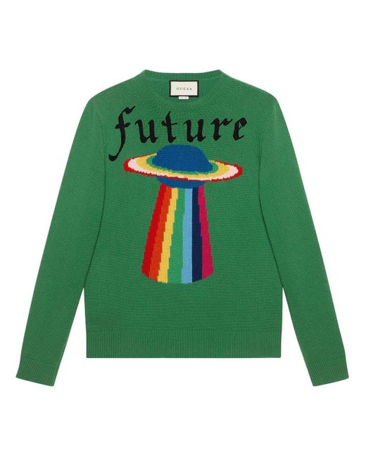 Gucci Green Wool Sweater With Planet Intarsia for men