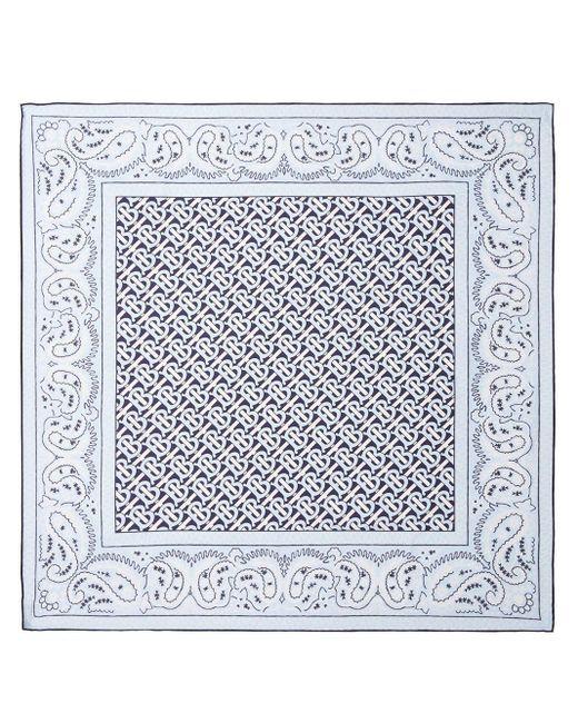 Платок С Монограммой И Принтом Пейсли Burberry, цвет: White