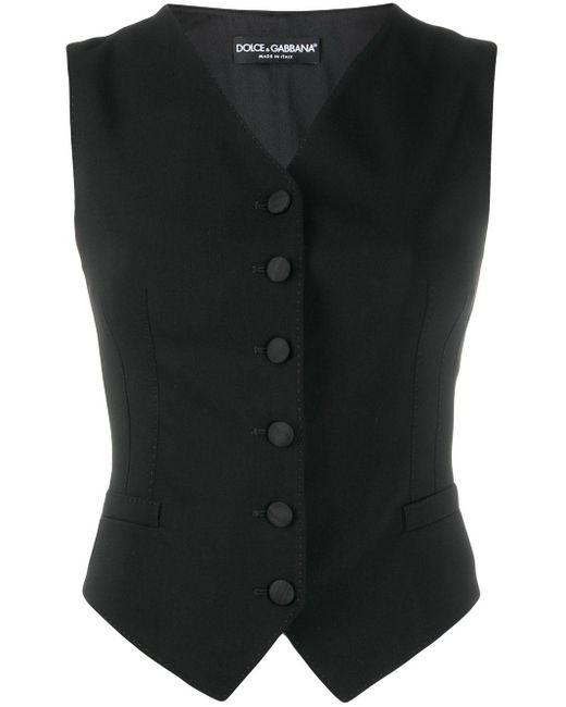 Dolce & Gabbana Vネック ボタン ベスト Black