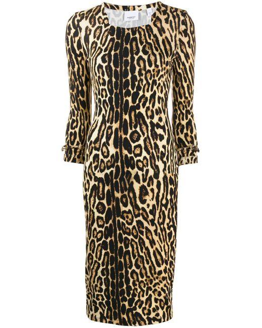 Robe ajustée à imprimé léopard Burberry en coloris Multicolor