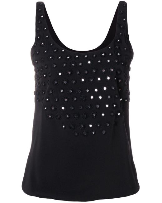 Saint Laurent Black Mirrored Eyelet Embellished Vest