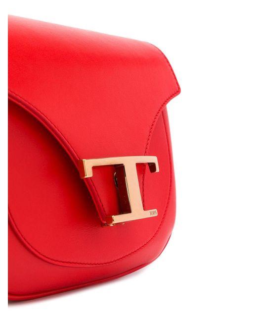 Tod's T モノグラム ショルダーバッグ Red
