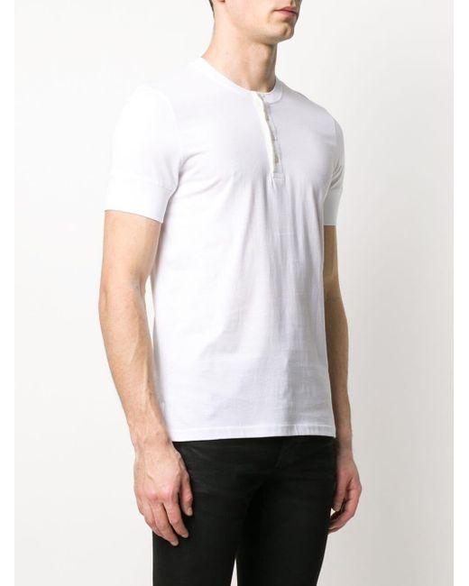 メンズ Tom Ford ノーカラー ポロシャツ White