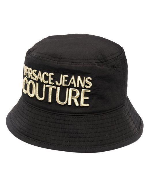 Bob à logo brodé Versace Jeans pour homme en coloris Black