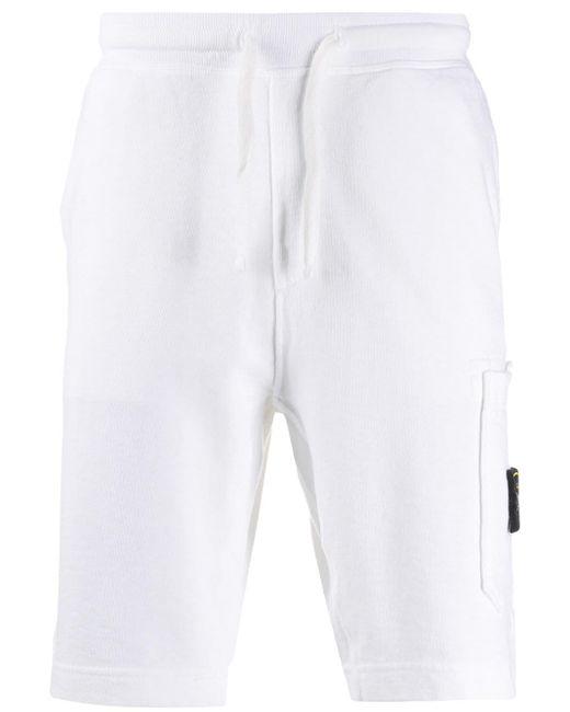 メンズ Stone Island ロゴパッチ ショートパンツ White