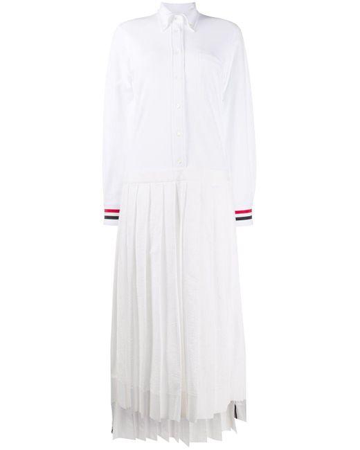 Thom Browne プリーツディテール シャツドレス White