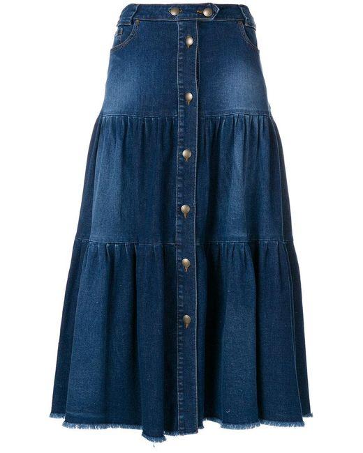 RED Valentino - Blue Ruffled A-line Denim Midi Skirt - Lyst