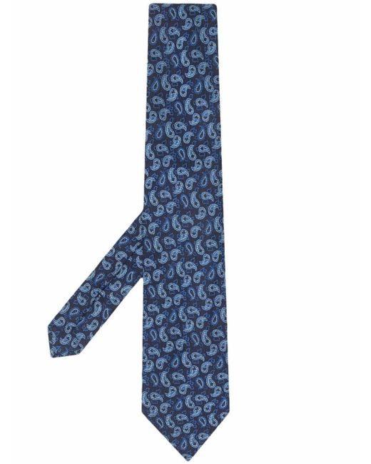 Галстук С Вышитым Узором Пейсли Etro для него, цвет: Blue