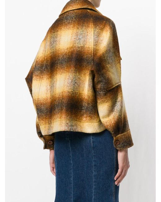 Chloé Blurred Check Jacket in Brown
