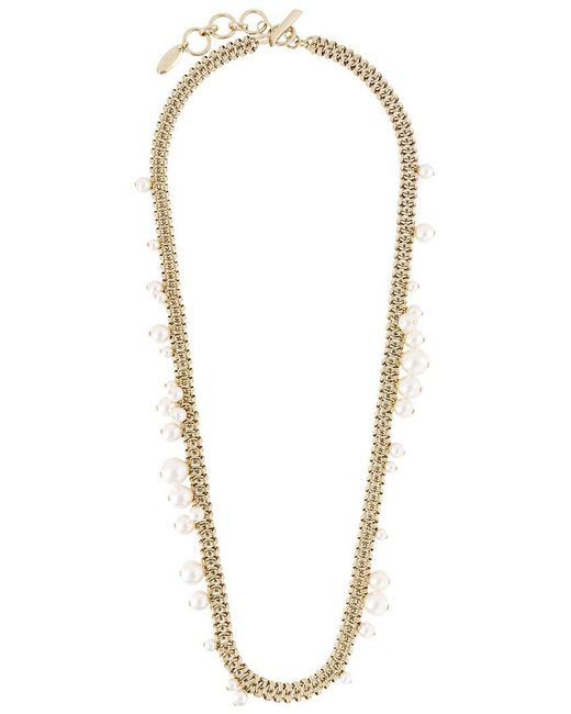 Lanvin | Metallic Pearl Chain Link Necklace | Lyst