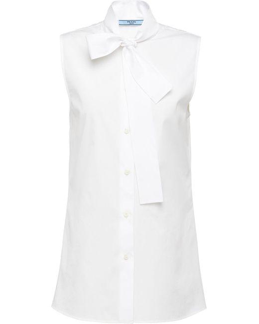 Prada Sleeveless Pussy-bow Blouse White