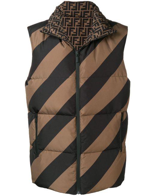 Двухсторонний Стеганый Жилет Fendi для него, цвет: Brown