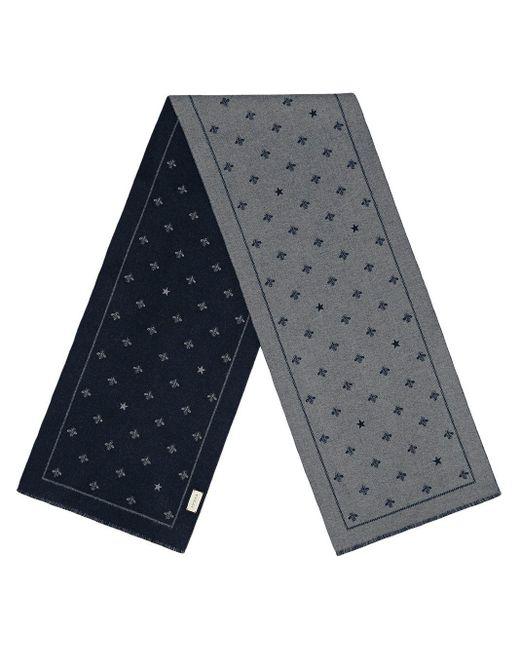 メンズ Gucci 【公式】 (グッチ)ビー(ハチ)&スター付き ウール スカーフブルー&グレー ウールグレー Gray