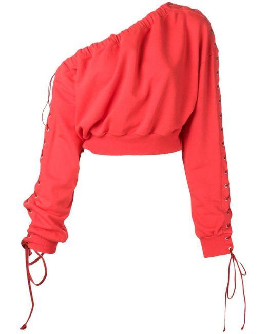 Unravel Project ワンショルダー スウェットシャツ Red