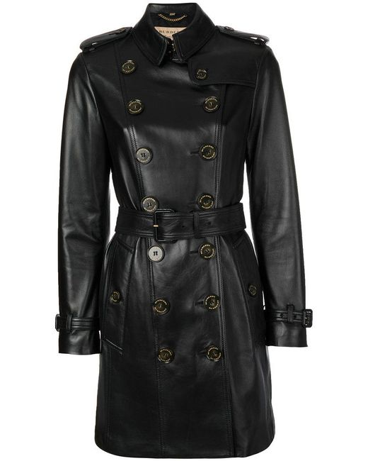Burberry | Black Double Breasted Coat | Lyst