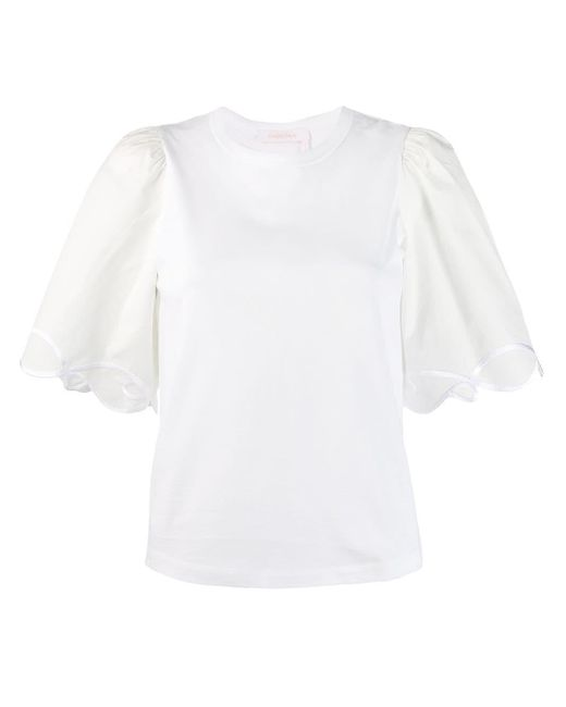 See By Chloé フレアスリーブ Tシャツ White
