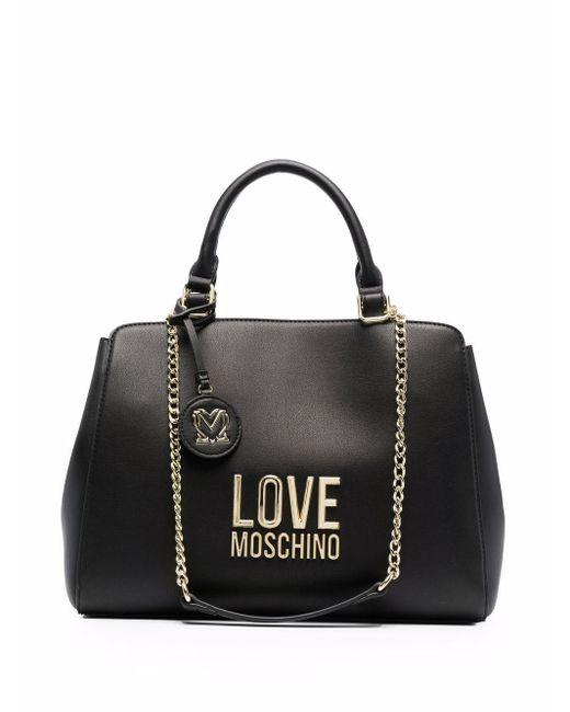 Love Moschino ロゴプレート ハンドバッグ Black