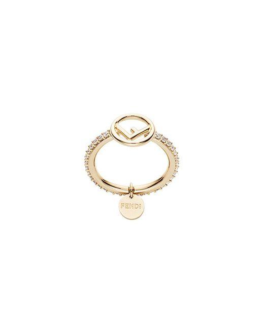 Fendi - Metallic Embellished Logo Ring - Lyst