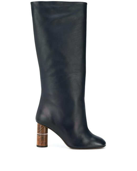 Neous Blue Wooden Heeled Boots