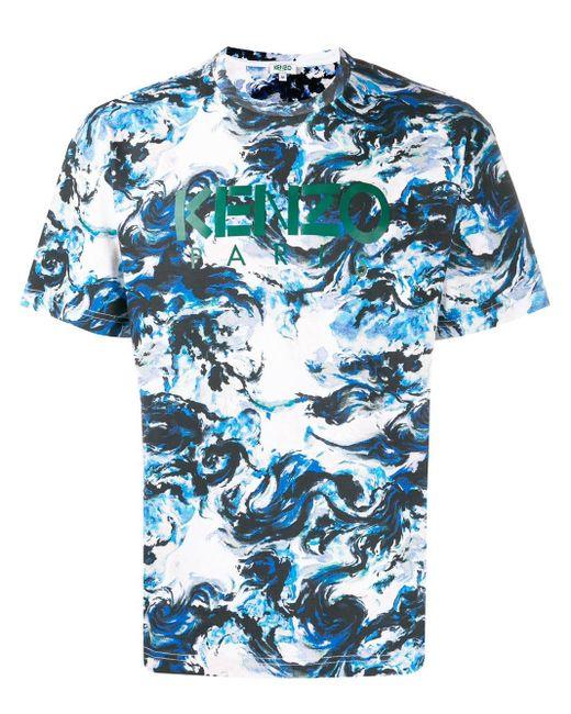 メンズ KENZO ロゴ Tシャツ Blue
