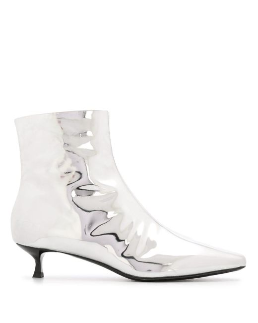 MSGM Gray Metallic Ankle Boots