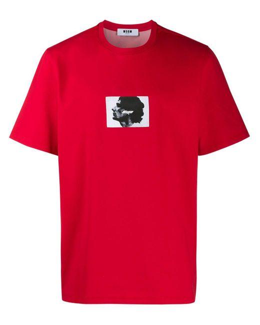 メンズ MSGM プリント Tシャツ Red
