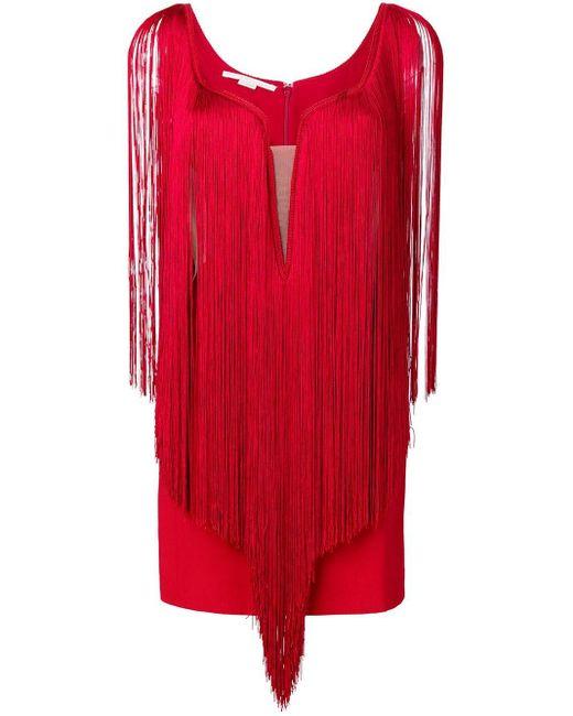 Stella McCartney フリンジ ミニドレス Red