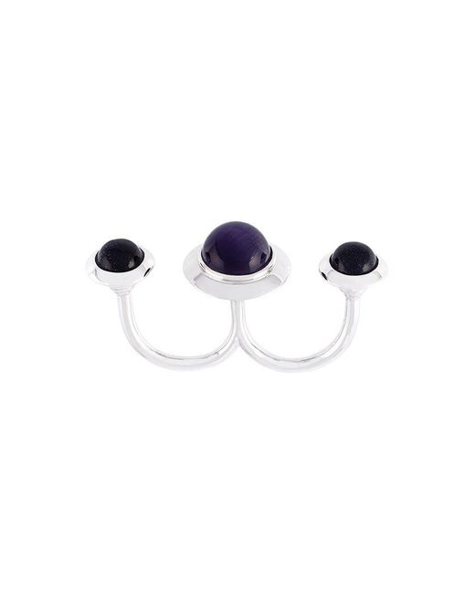 Eshvi - Metallic 'astro' Double Ring - Lyst