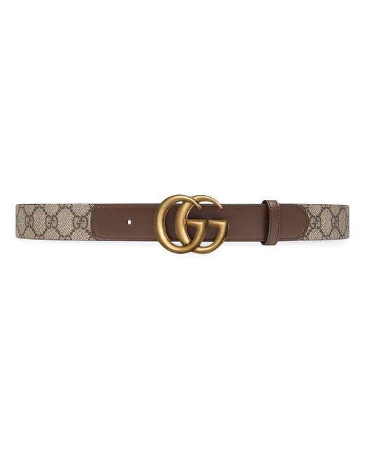 Gucci 【公式】 (グッチ)GG ベルト(ダブルg バックル)ブラウン レザーブラウン Brown