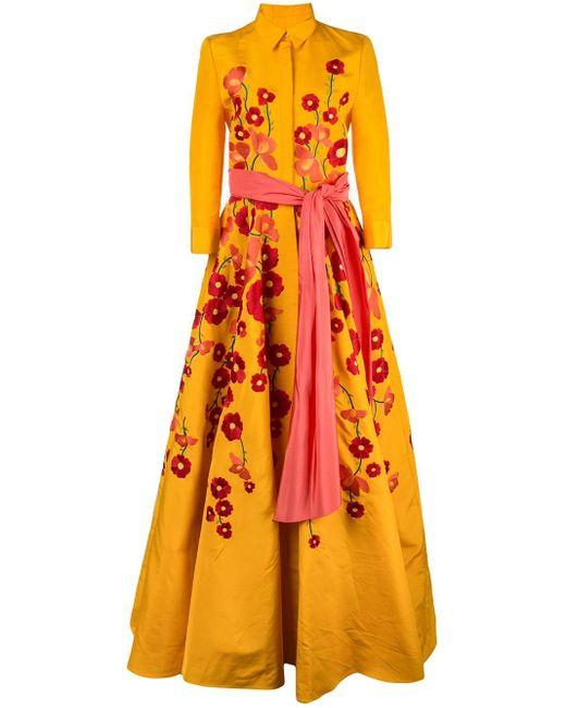 Carolina Herrera シルクファイユシャツドレス Yellow