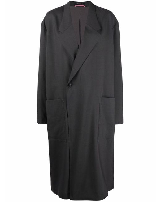Пальто Оверсайз С Заостренными Лацканами Y's Yohji Yamamoto, цвет: Gray