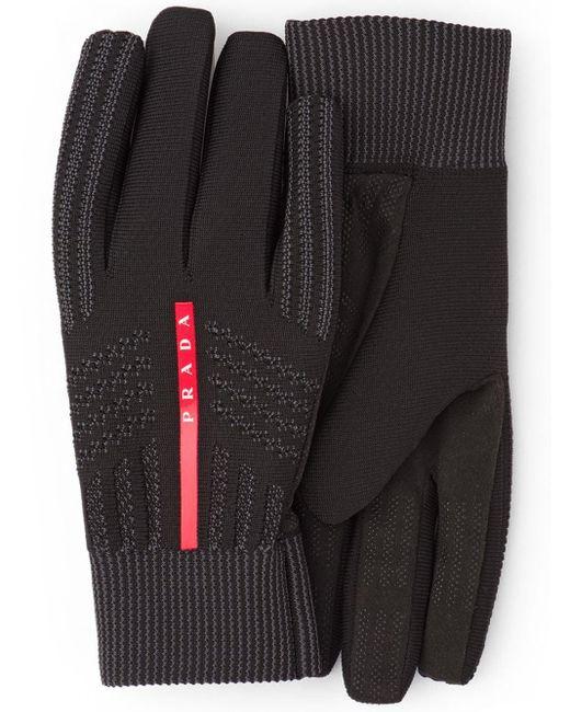 Gants à logo intarsia Prada pour homme en coloris Black