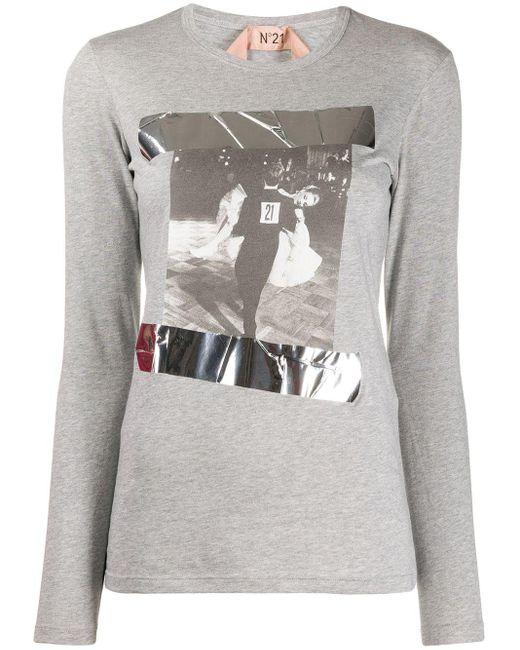 N°21 プリント Tシャツ Gray