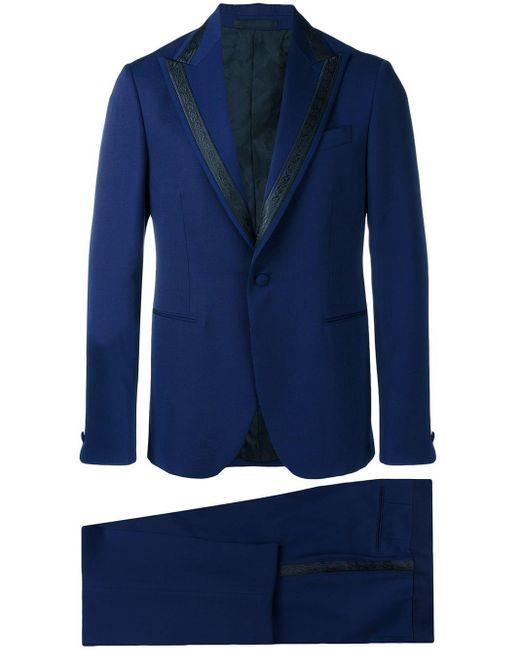 Versace Blue Single Breasted Jacquard Detailed Suit for men