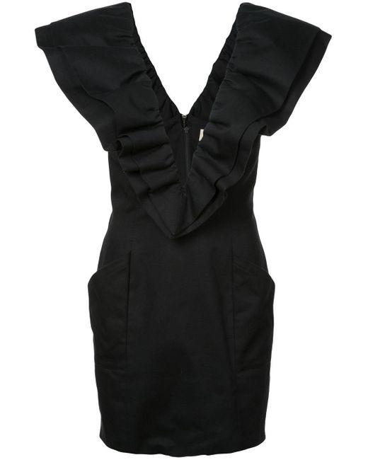 Robe volantée à col v Fleur du Mal en coloris Black