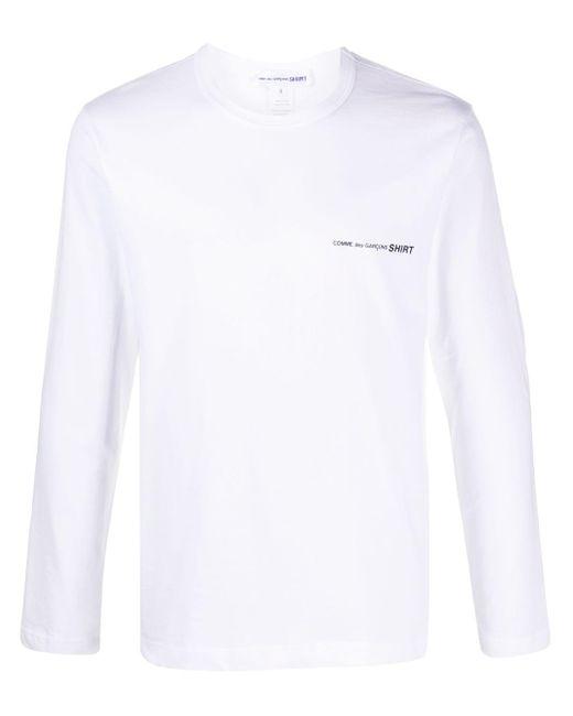 メンズ Comme des Garçons ロゴ ロングtシャツ White