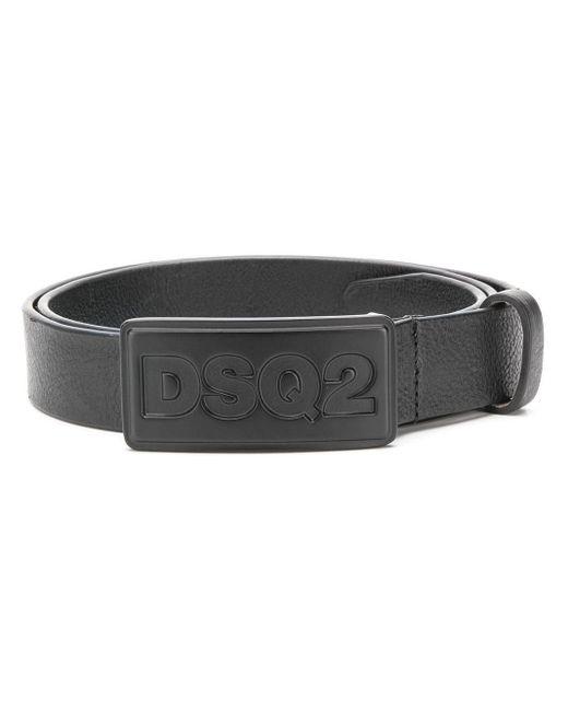 Cinturón con placa del logo DSquared² de hombre de color Black