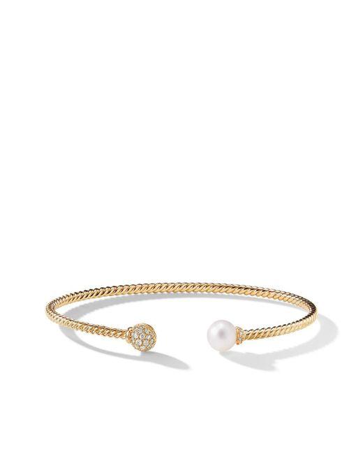 David Yurman Petite Solari Bead ダイヤモンド&パール カフブレスレット 18kイエローゴールド Metallic