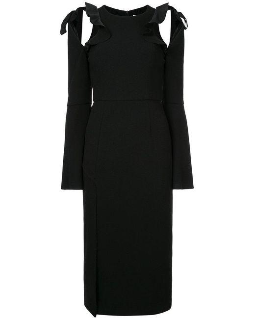 Rebecca Vallance | Black Gigi Ruffle Midi Dress | Lyst