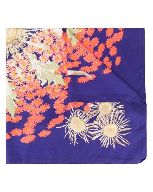 Платок Fleurs Et Carlines 1970-х Годов Pre-owned Hermès, цвет: Blue