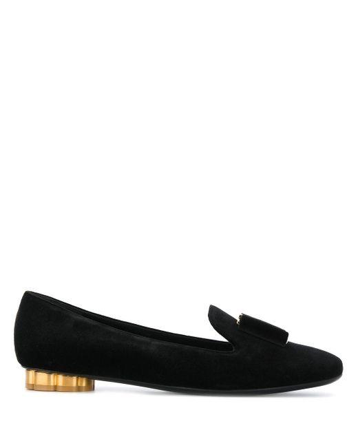 Ferragamo Black Flower Heel Smoking Shoes