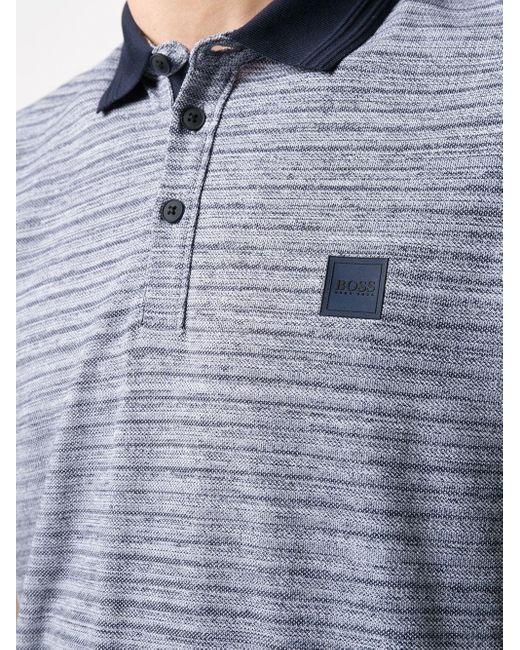 メンズ BOSS by Hugo Boss ストライプ ロゴ ポロシャツ Blue