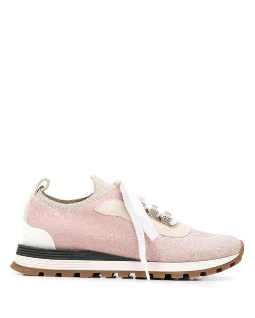 Brunello Cucinelli ニット スニーカー Pink