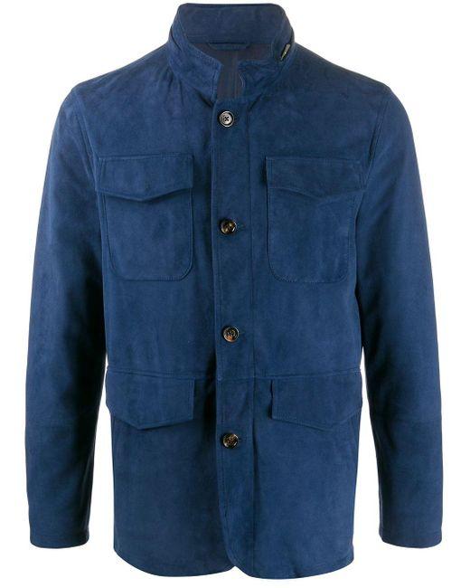 メンズ Eleventy スエード ジャケット Blue