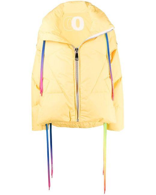 Khrisjoy Yellow Rainbow Drawstrings Puffer Jacket